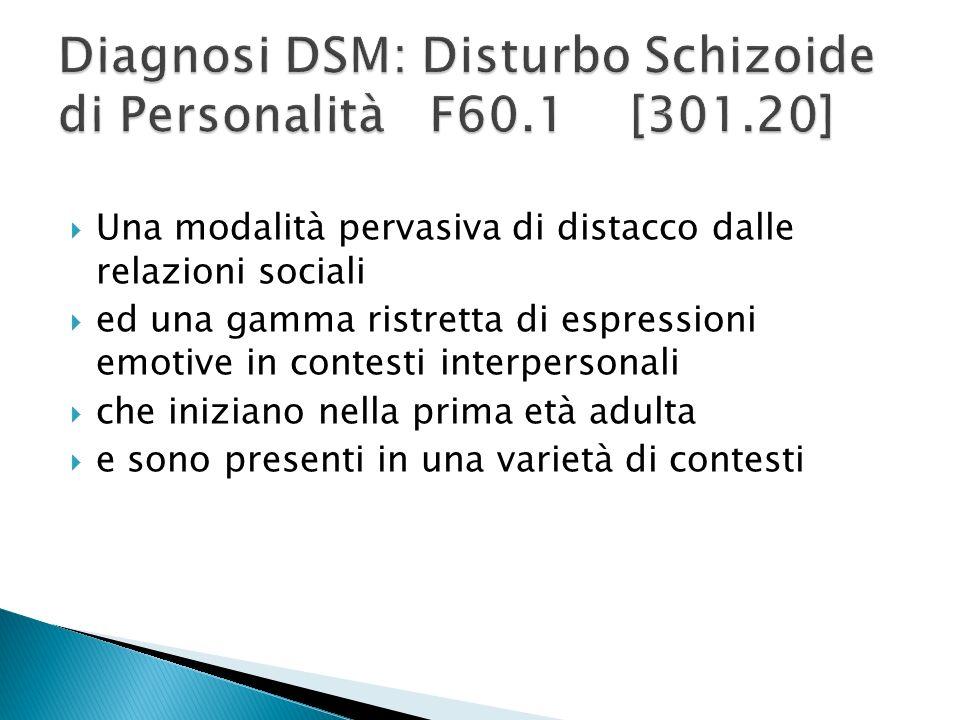 Diagnosi DSM: Disturbo Schizoide di Personalità F60.1 [301.20]